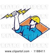 Vector Clip Art of Retro Male Electrician Holdnig a Bolt over a Diamond of Orange Rays by Patrimonio