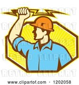 Vector Clip Art of Retro Male Electrician Holdnig a Bolt over an Octagon of Orange Rays by Patrimonio
