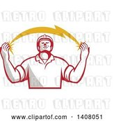 Vector Clip Art of Retro Male Electrician Looking up and Holding a Spanning Lightning Bolt by Patrimonio
