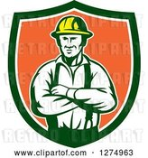 Vector Clip Art of Retro Male Electrician or Construction Worker with Folded Arms in a Green White and Orange Shield by Patrimonio