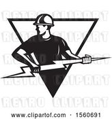 Vector Clip Art of Retro Male Electrician Pulling a Lightning Bolt in a Triangle by Patrimonio