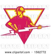 Vector Clip Art of Retro Male Electrician Pulling a Lightning Bolt in a White Yellow and Pink Triangle by Patrimonio