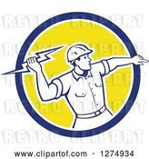 Vector Clip Art of Retro Male Electrician Throwing a Lightning Bolt in a Blue White and Yellow Circle by Patrimonio