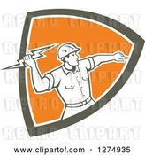 Vector Clip Art of Retro Male Electrician Throwing a Lightning Bolt in a Brown White and Orange Shield by Patrimonio