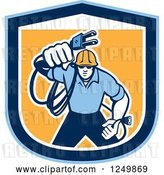 Vector Clip Art of Retro Male Electrician with a Cord in a Blue and Orange Shield by Patrimonio