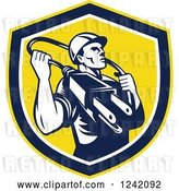 Vector Clip Art of Retro Male Electrician with a Plug Around His Neck in a Shield by Patrimonio