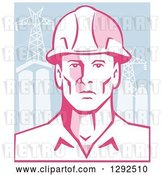Vector Clip Art of Retro Male Engineer Wearing a Hardhat over Power Pylons and Buildings by Patrimonio