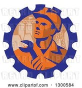 Vector Clip Art of Retro Male Engineer Worker Holding a Wrench over Pylons in a Gear Cog by Patrimonio