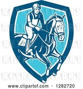 Vector Clip Art of Retro Male Equestrian Show Jumping a Horse in a Blue and White Shield by Patrimonio