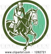Vector Clip Art of Retro Male Equestrian Show Jumping a Horse in a Green and White Circle by Patrimonio
