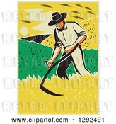 Vector Clip Art of Retro Male Famer Using a Scythe and Harvesting a Crop by Patrimonio