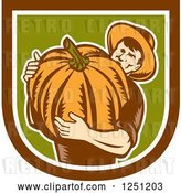 Vector Clip Art of Retro Male Farmer Carrying a Giant Pumpkin in a Brown White and Green Shield by Patrimonio