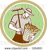 Vector Clip Art of Retro Male Farmer Carrying a Harvest Bushel Bucket and Rake in a Brown and Green Circle by Patrimonio