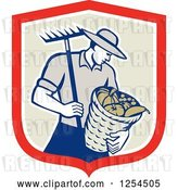 Vector Clip Art of Retro Male Farmer Carrying a Harvest Bushel Bucket and Rake in a Shield by Patrimonio