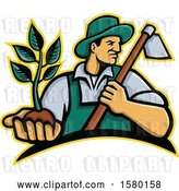 Vector Clip Art of Retro Male Farmer Holding a Hoe and Seedling Plant by Patrimonio