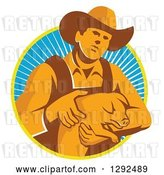Vector Clip Art of Retro Male Farmer Holding a Piglet in a Yellow White and Blue Circle of Rays by Patrimonio