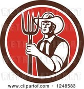 Vector Clip Art of Retro Male Farmer Holding a Pitchfork in a Red and Brown Circle by Patrimonio