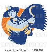 Vector Clip Art of Retro Male Farmer Holding a Scythe and Harvested Wheat in an Orange Circle of Sunshine by Patrimonio