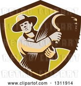 Vector Clip Art of Retro Male Farmer Holding a Scythe and Harvested Wheat in Brown and Green Shield by Patrimonio