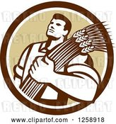 Vector Clip Art of Retro Male Farmer Holding Wheat in a Brown and White Circle by Patrimonio