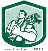 Vector Clip Art of Retro Male Farmer Holding Wheat in a Green Shield by Patrimonio