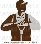 Vector Clip Art of Retro Male Farmer Leaning on a Shovel, Looking to the Side by Patrimonio