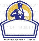 Vector Clip Art of Retro Male Farmer Leaning on a Shovel, Looking to the Side in a Sun Burst Shield by Patrimonio
