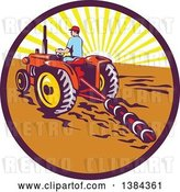 Vector Clip Art of Retro Male Farmer Operating a Tractor and Plow in a Sunrise Circle by Patrimonio