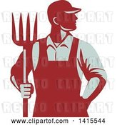 Vector Clip Art of Retro Male Farmer or Worker Standing with One Hand in His Pocket and One Hand Holding a Pitchfork by Patrimonio