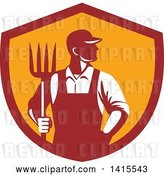 Vector Clip Art of Retro Male Farmer or Worker Standing with One Hand in His Pocket and One Hand Holding a Pitchfork in a Red and Orange Shield by Patrimonio
