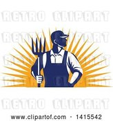 Vector Clip Art of Retro Male Farmer or Worker Standing with One Hand in His Pocket and One Hand Holding a Pitchfork over an Orange Sun Burst by Patrimonio