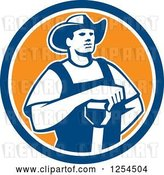 Vector Clip Art of Retro Male Farmer Resting an Arm on a Shovel in a Blue and Orange Circle by Patrimonio