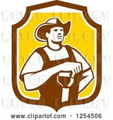 Vector Clip Art of Retro Male Farmer Resting an Arm on a Shovel in a Brown and Yellow Shield by Patrimonio