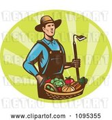 Vector Clip Art of Retro Male Farmer Standing with a Hoe and Bucket of Harvest Veggies over Green Rays by Patrimonio