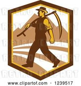 Vector Clip Art of Retro Male Farmer Walking with a Scythe in a Shield with Mountains by Patrimonio