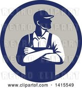 Vector Clip Art of Retro Male Farmer with Folded Arms, Looking to the Side in a Blue and Gray Circle by Patrimonio