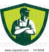 Vector Clip Art of Retro Male Farmer with Folded Arms, Looking to the Side in a Green Shield by Patrimonio