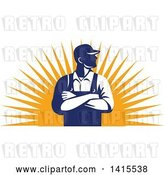 Vector Clip Art of Retro Male Farmer with Folded Arms, Looking to the Side over a Sun Burst by Patrimonio