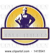 Vector Clip Art of Retro Male Farmer with Hands on His Hips in an Orange Sunny Circle by Patrimonio
