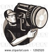 Vector Clip Art of Retro Male Film Crew Worker Holding a Spotlight Fresnel in a Circle by Patrimonio