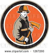 Vector Clip Art of Retro Male Firefighter Holding an Axe in a Brown Black White and Orange Circle by Patrimonio