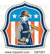 Vector Clip Art of Retro Male Firefighter Holding an Axe in an American Flag Shield by Patrimonio