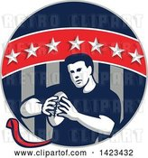 Vector Clip Art of Retro Male Flag Football Player in a Flag Circle by Patrimonio