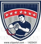 Vector Clip Art of Retro Male Flag Football Player in a Flag Shield by Patrimonio