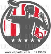 Vector Clip Art of Retro Male Flag Football Player Passing in a Flag Circle by Patrimonio