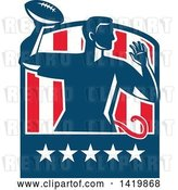 Vector Clip Art of Retro Male Flag Football Player Passing in a Flag Crest by Patrimonio