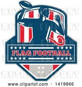 Vector Clip Art of Retro Male Flag Football Player Passing, over Text, in a Flag Crest by Patrimonio