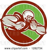 Vector Clip Art of Retro Male Football Player with a Ball in a Maroon White and Green Circle by Patrimonio