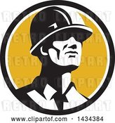 Vector Clip Art of Retro Male Foreman or Builder Wearing a Hardhat and Looking Forward in a Black White and Yellow Circle by Patrimonio