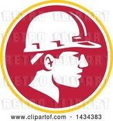 Vector Clip Art of Retro Male Foreman or Builder Wearing a Hardhat in a Yellow White and Red Circle by Patrimonio